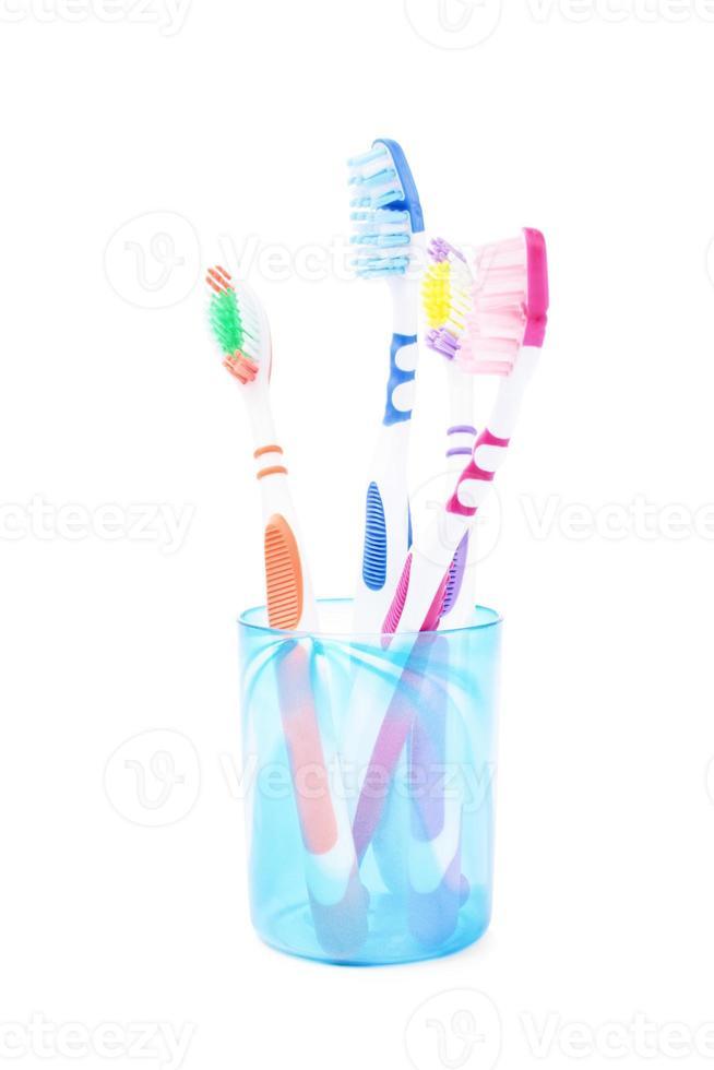 conjunto de escova de dentes da família foto