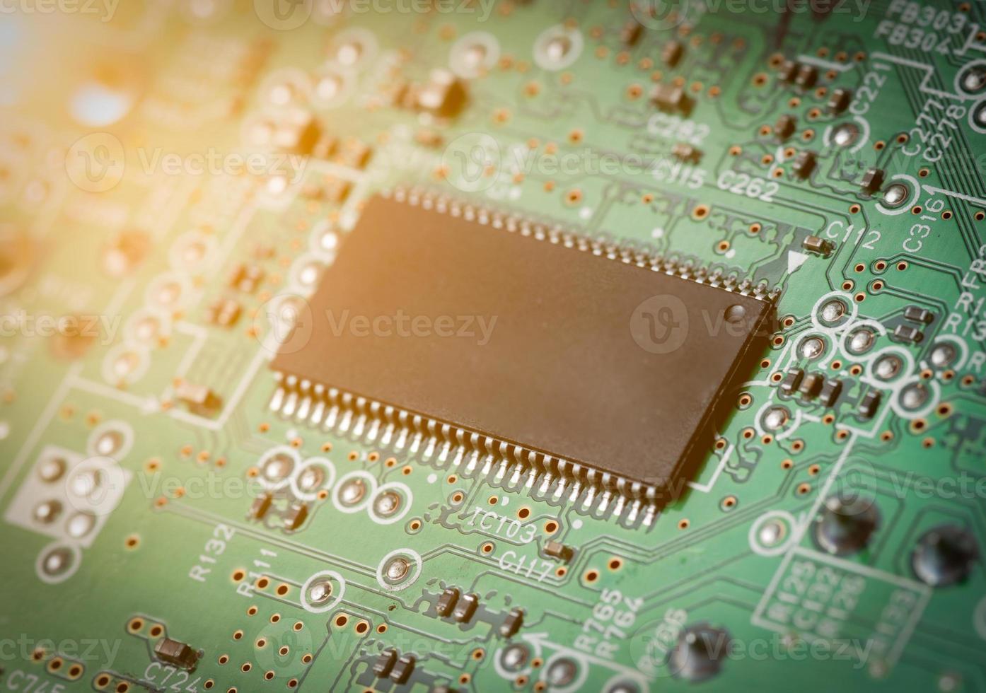 circuito eletrônico para padrão e plano de fundo. foto