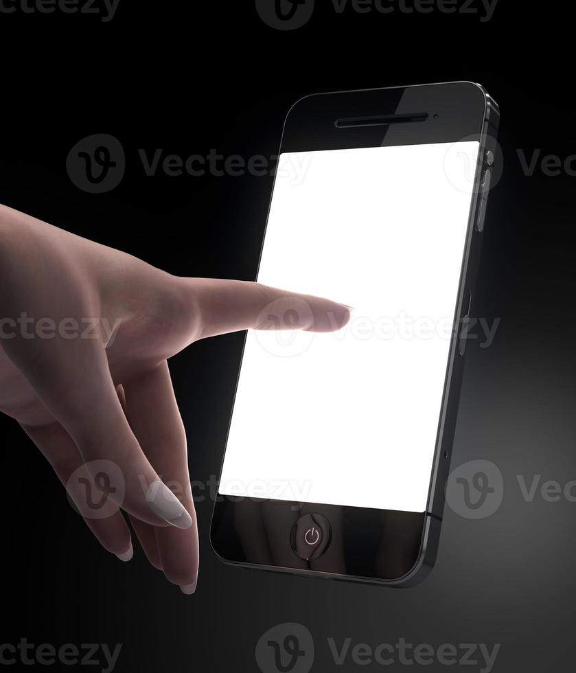 mão de mulher tocando isplay em branco telefone inteligente foto