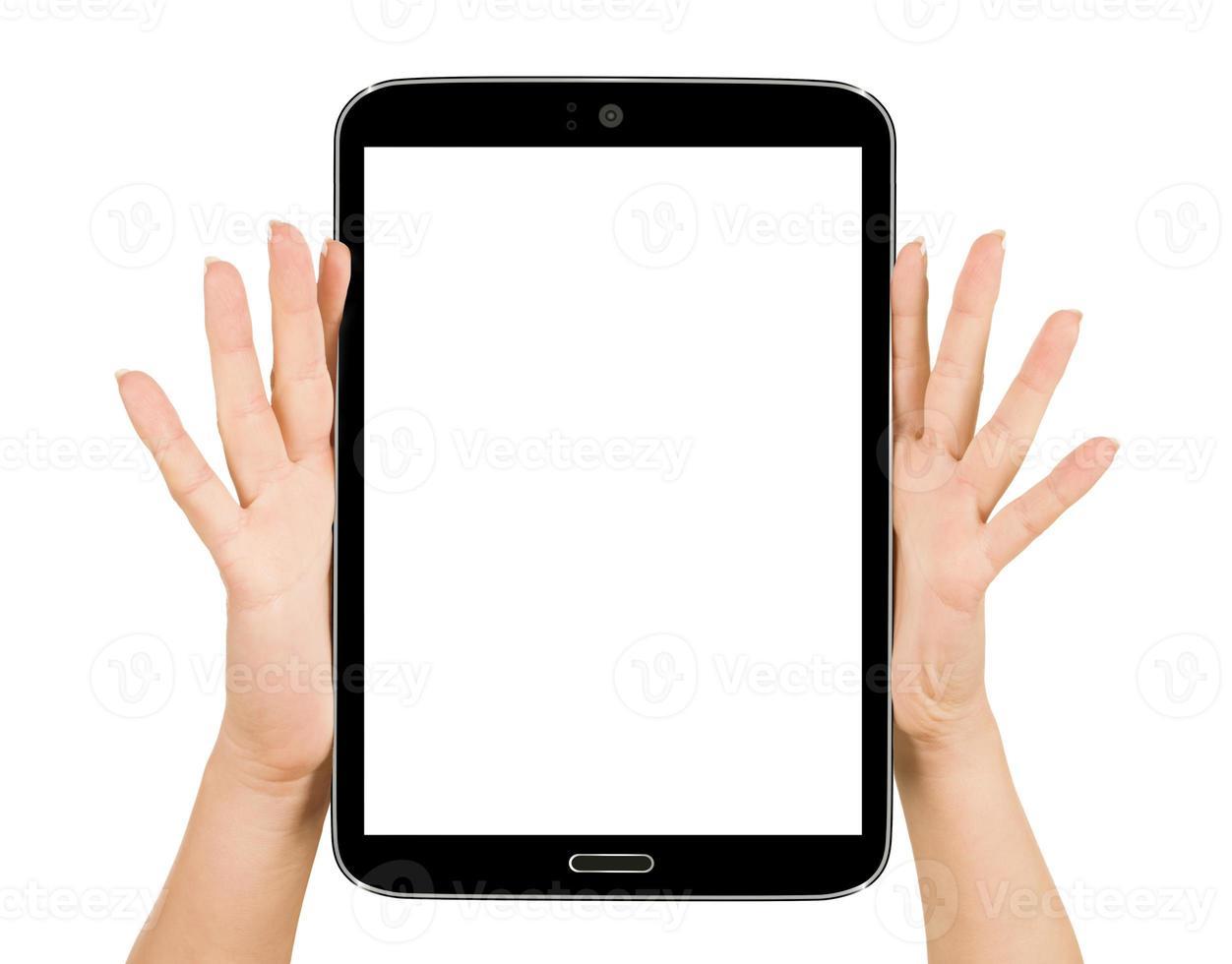 femininas mãos segurando um tablet touch gadget de computador com foto