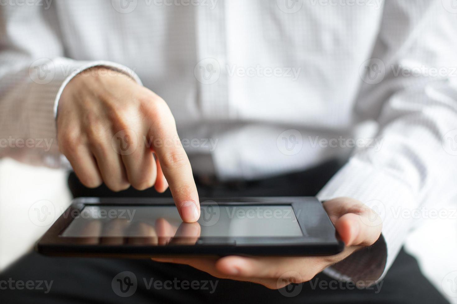 toque na tela do tablet para iniciar foto