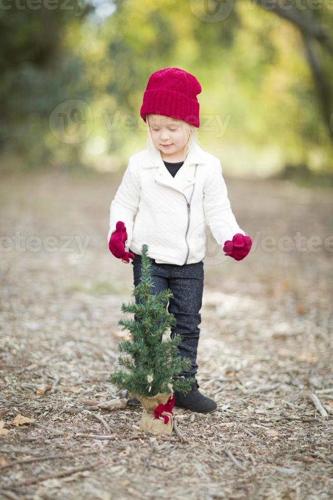 garota de luvas vermelhas e boné perto de pequena árvore de Natal foto