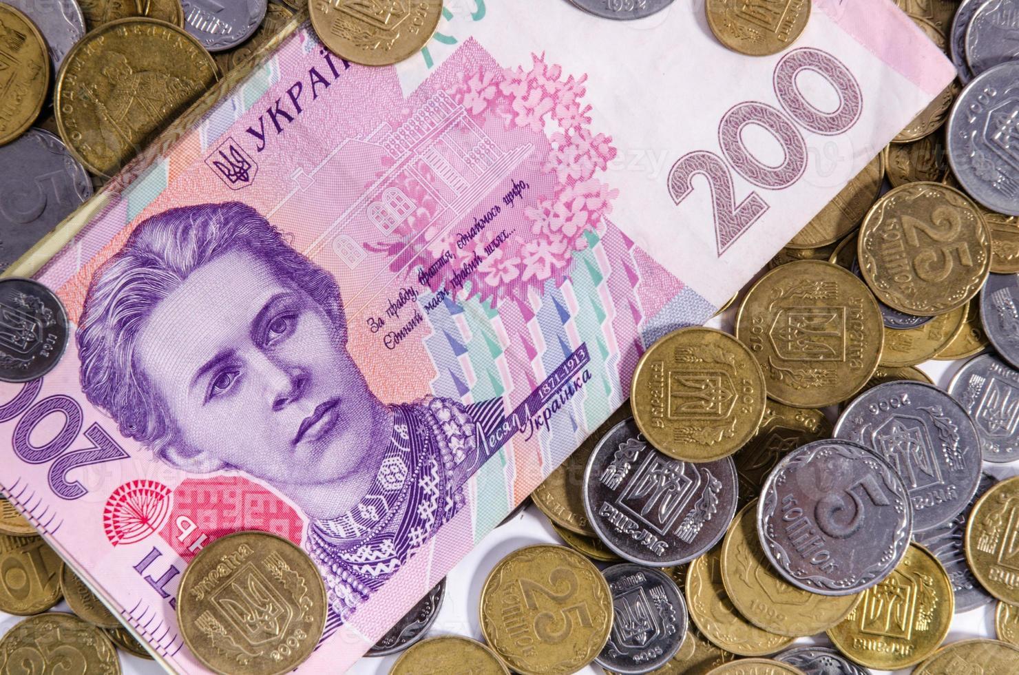 dinheiro ucrânia. observe duzentos hryvnia foto