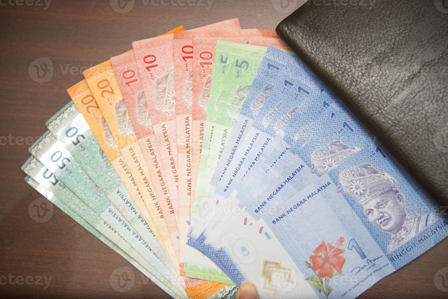 notas de dinheiro da malásia com carteira marrom foto