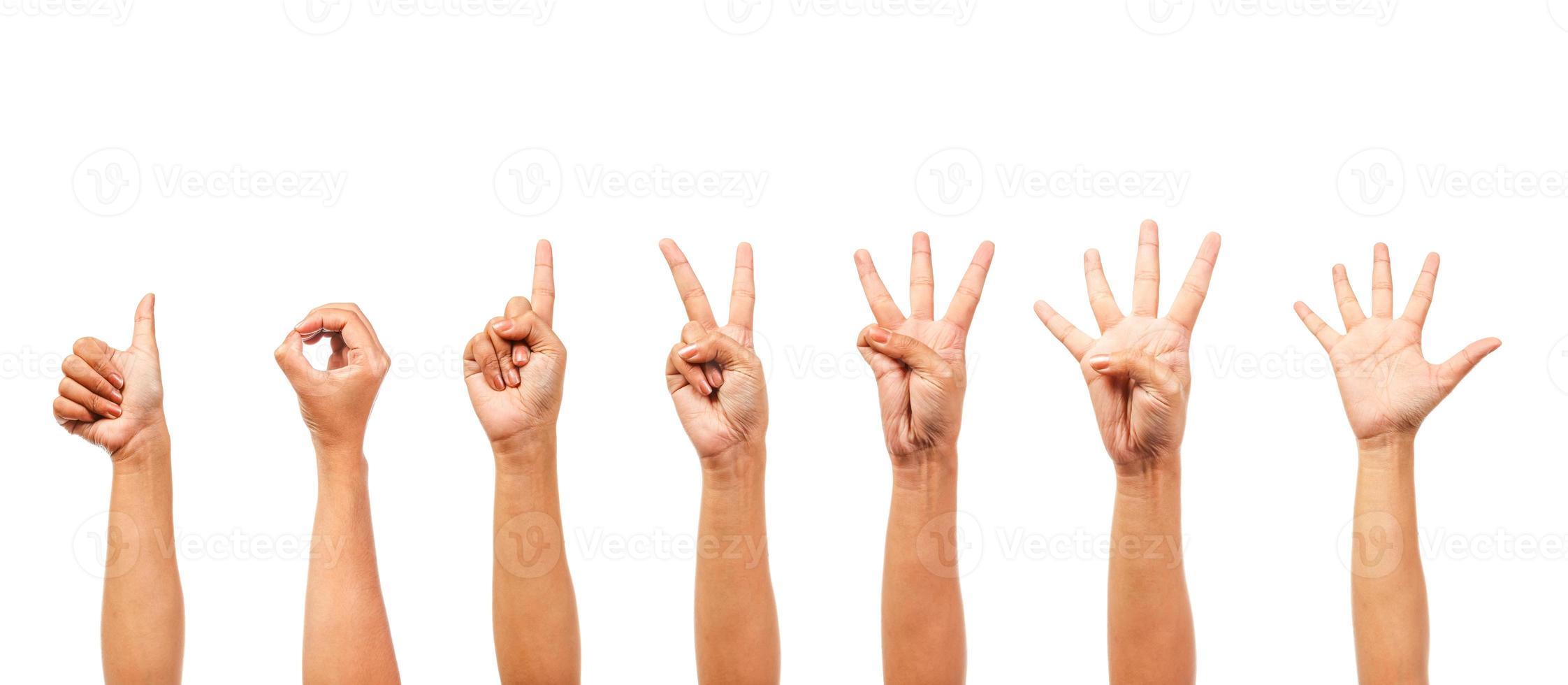 mãos de mulher isoladas mostram o número foto