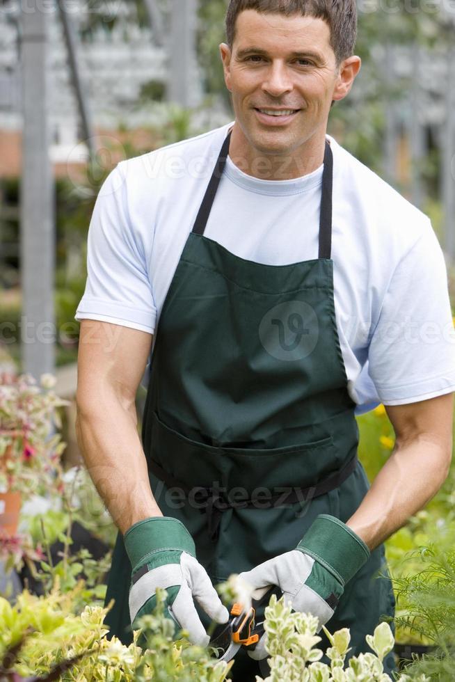 jardineiro no berçário, sorrindo, retrato foto