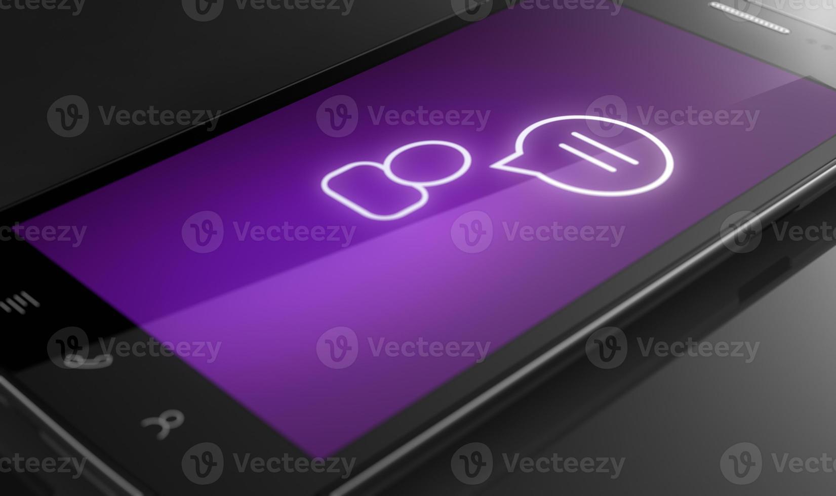 ícone de bate-papo - conceito de telefone inteligente personalizado foto