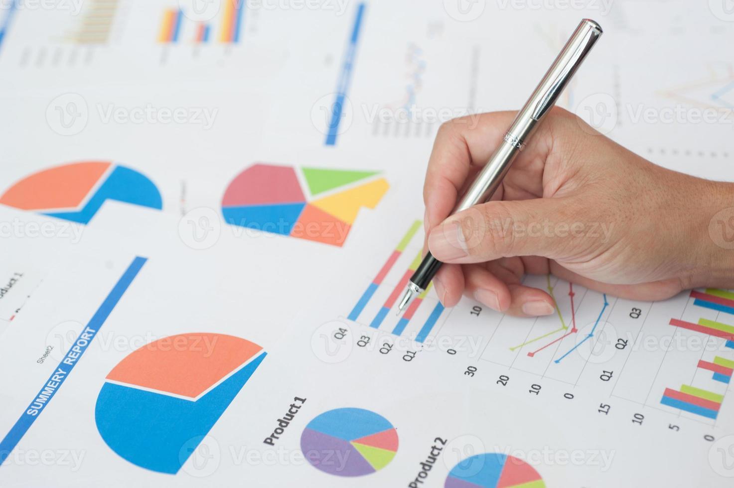 a mulher de negócios examina a finança, foto