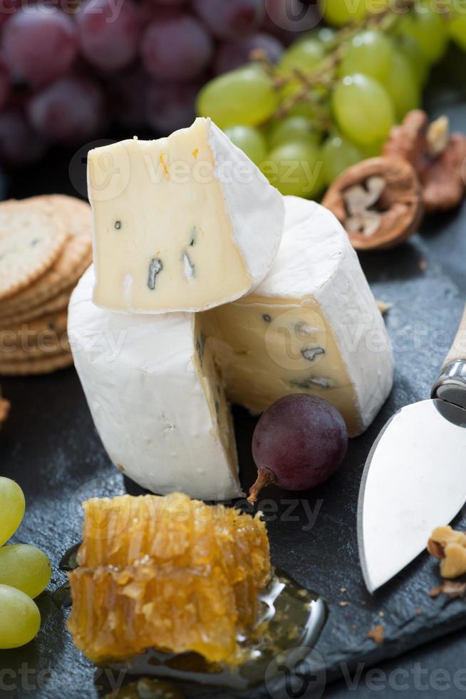camembert com mel fresco, uvas e nozes, close-up foto