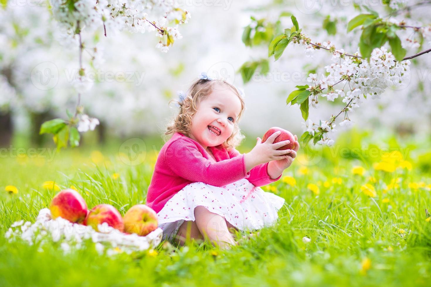 menina adorável criança comendo maçã em um jardim florescendo foto