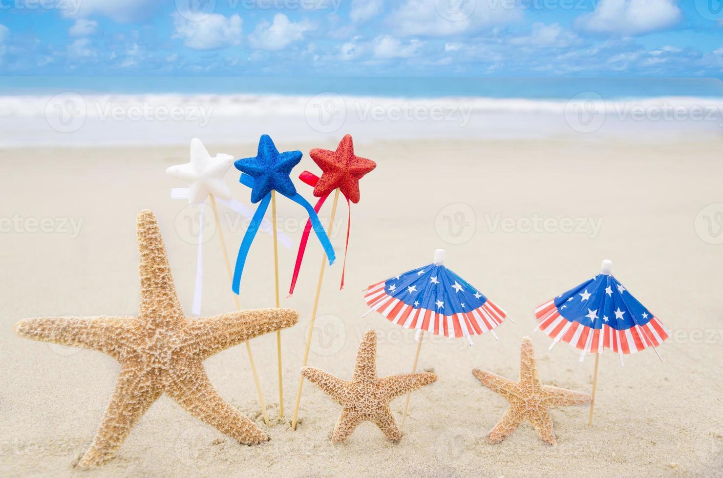 fundo patriótico dos EUA com estrelas do mar foto