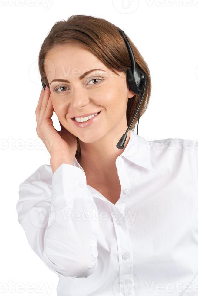 retrato de uma funcionária de call center muito feminina foto