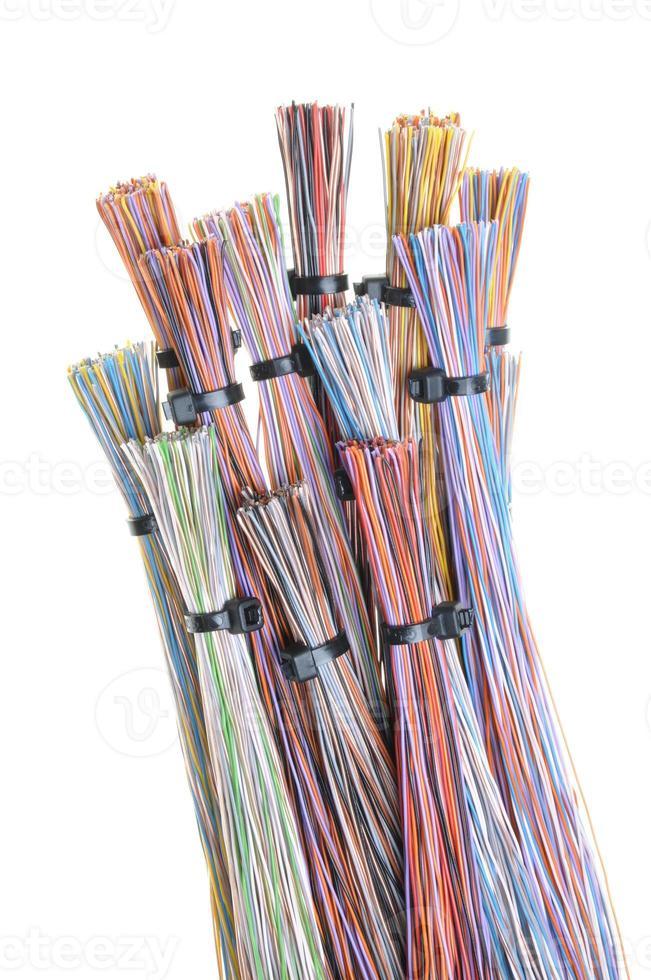 cabo de computador colorido com abraçadeiras foto