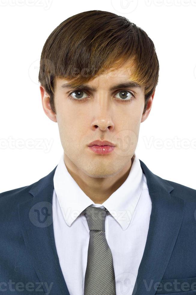 bravo empresário caucasiano sobre um fundo branco foto