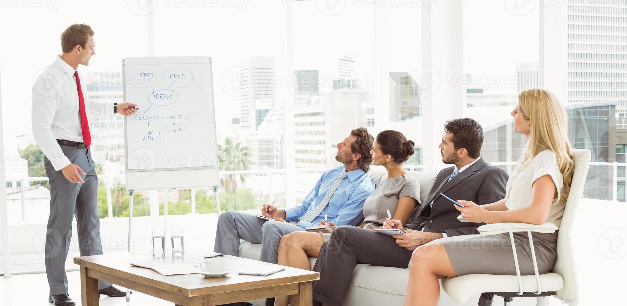 empresário dando apresentação no escritório foto