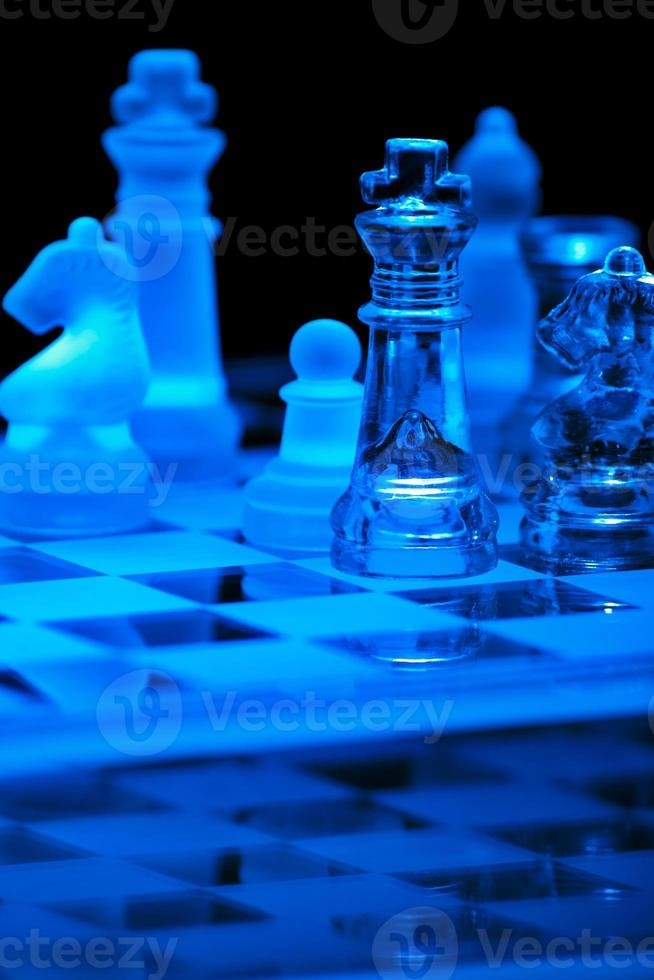 jogo de xadrez de vidro foto
