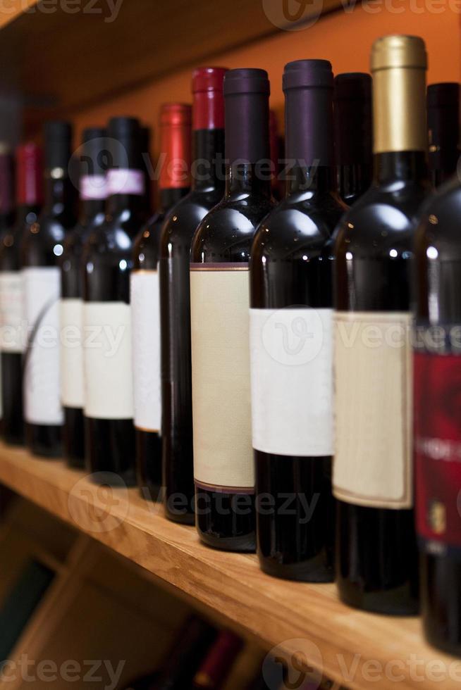 garrafas de vinho em uma linha foto