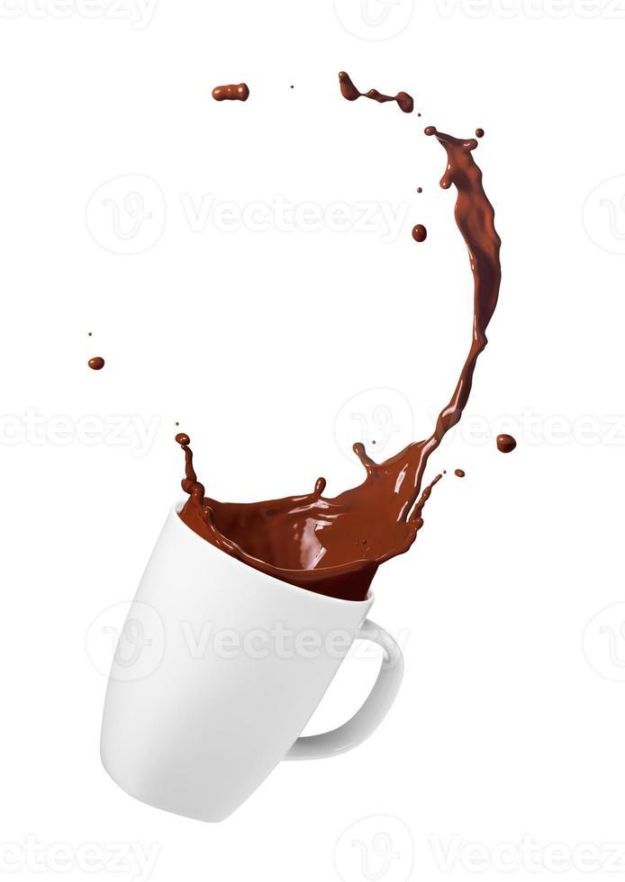respingo de bebida de chocolate foto