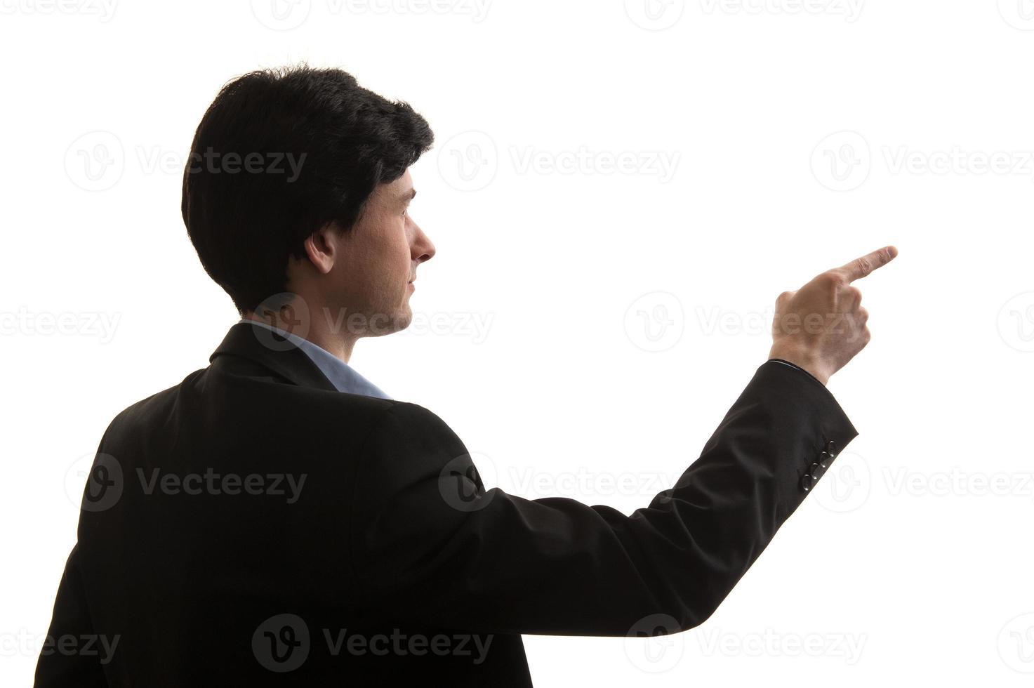 dedo apontando de homem de negócios foto