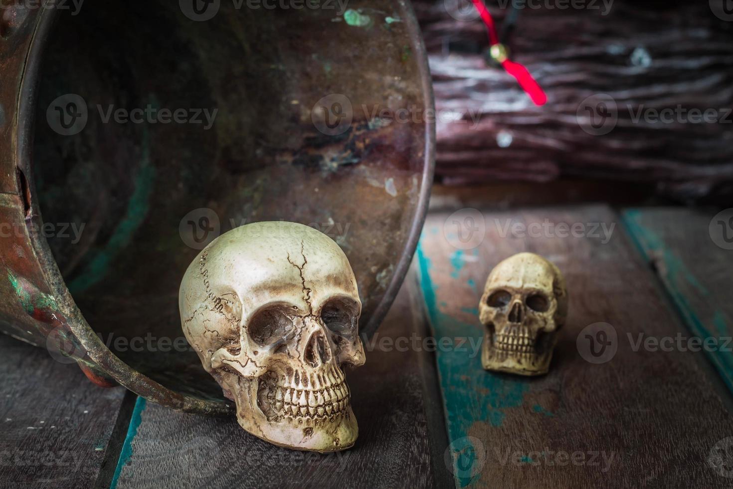 crânio em um balde de idade foto