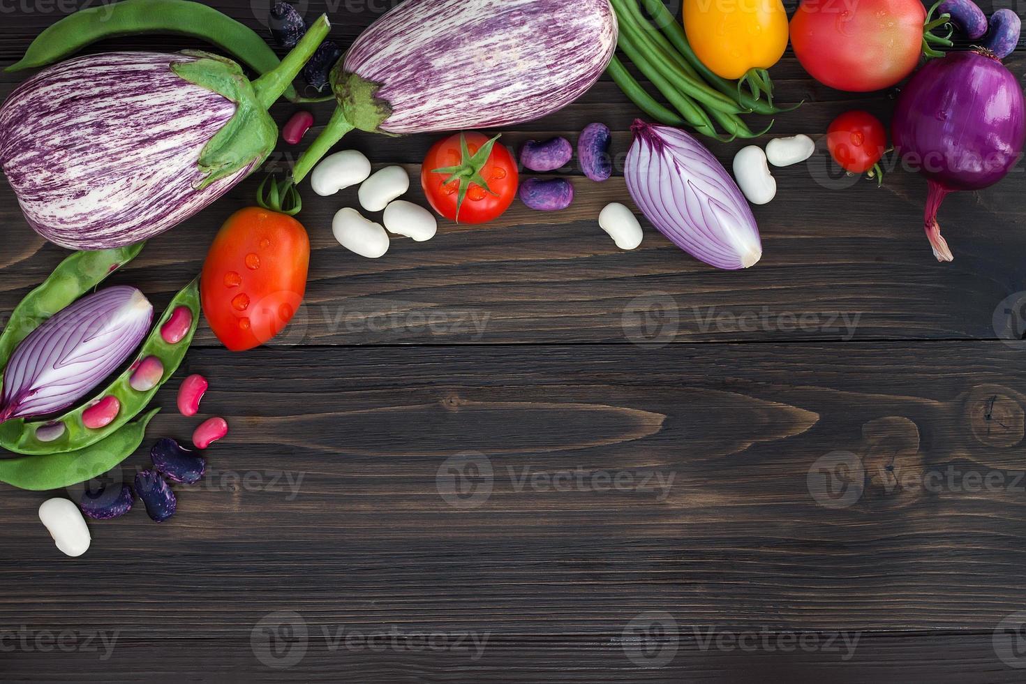 agricultores mercado vegetal de cima, copie o espaço. fundo de alimentação saudável. foto