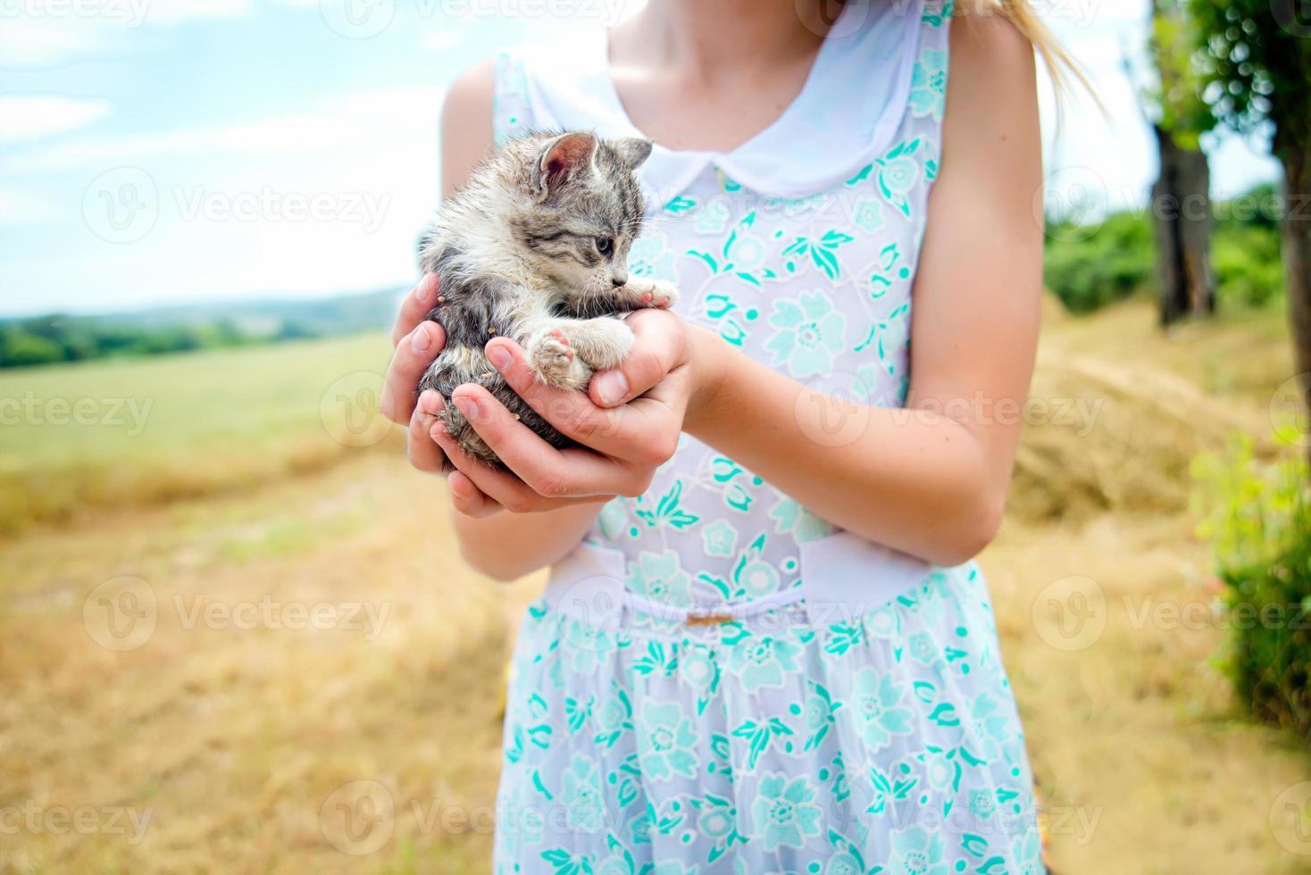 menina segurando um gatinho foto