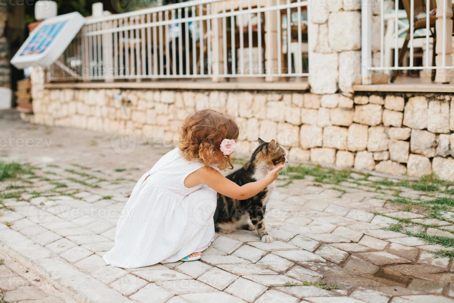 menina brincando com gato ao ar livre foto