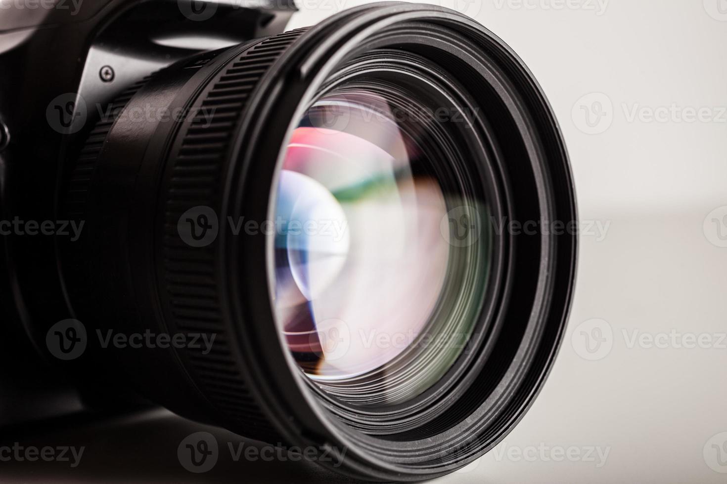 close de lente de câmera foto