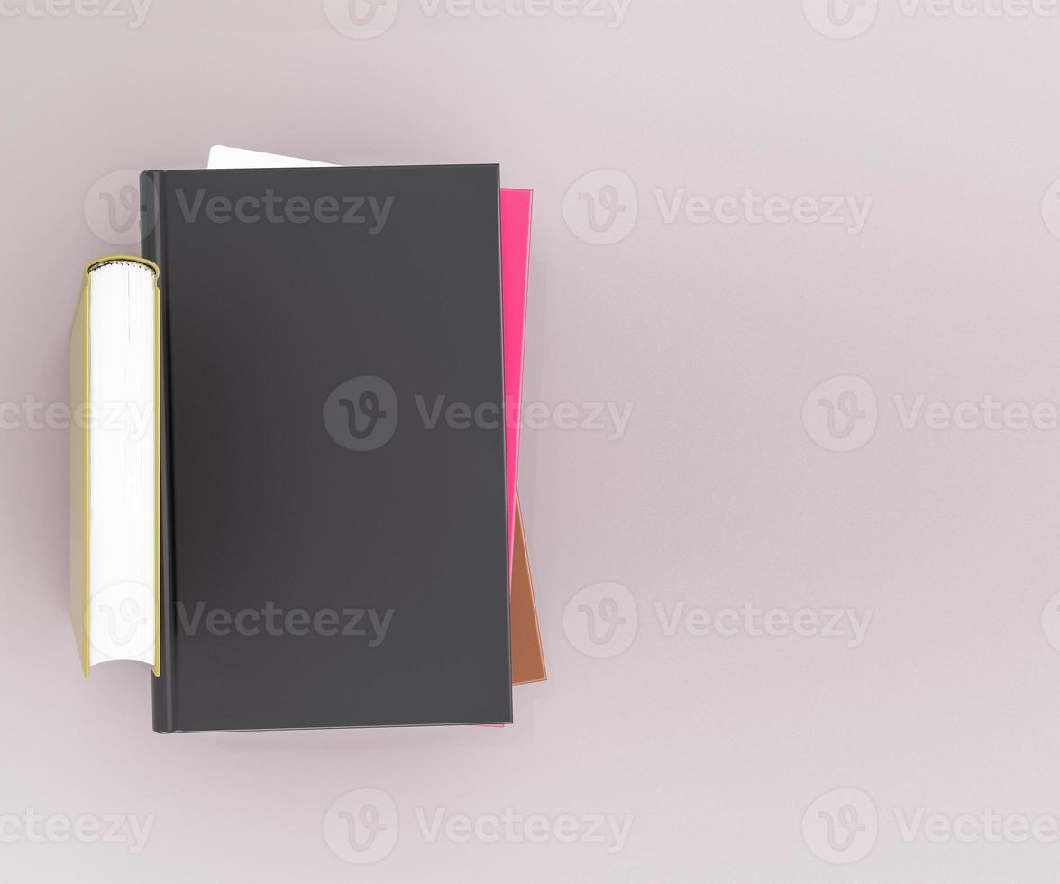 modelo de maquete de livro de cor vazia no fundo cinza foto