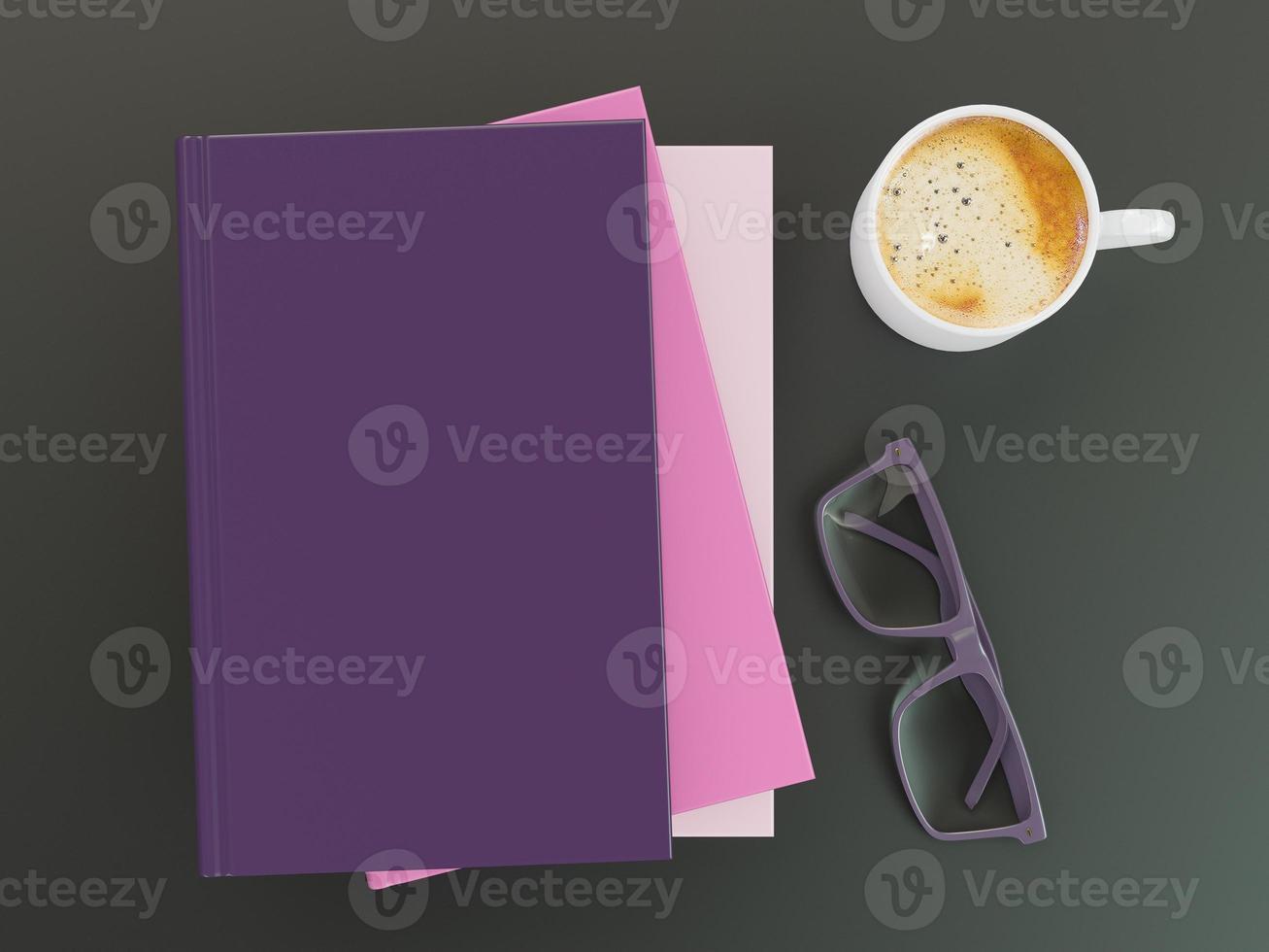 modelo de maquete de livro de cor vazia no fundo preto foto