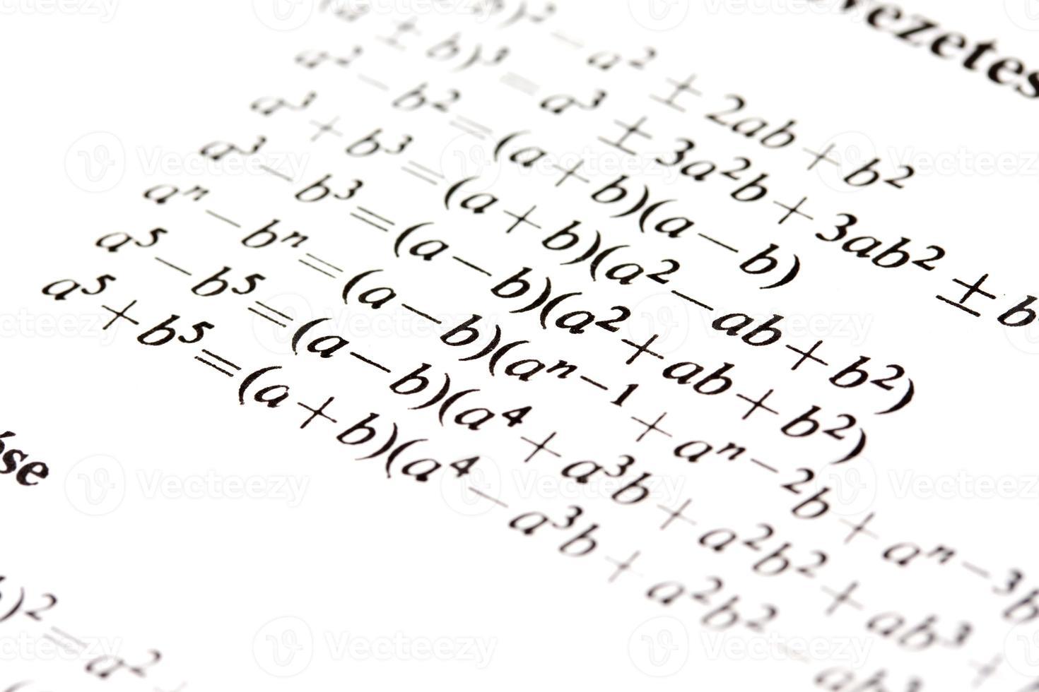 fórmulas de álgebra foto
