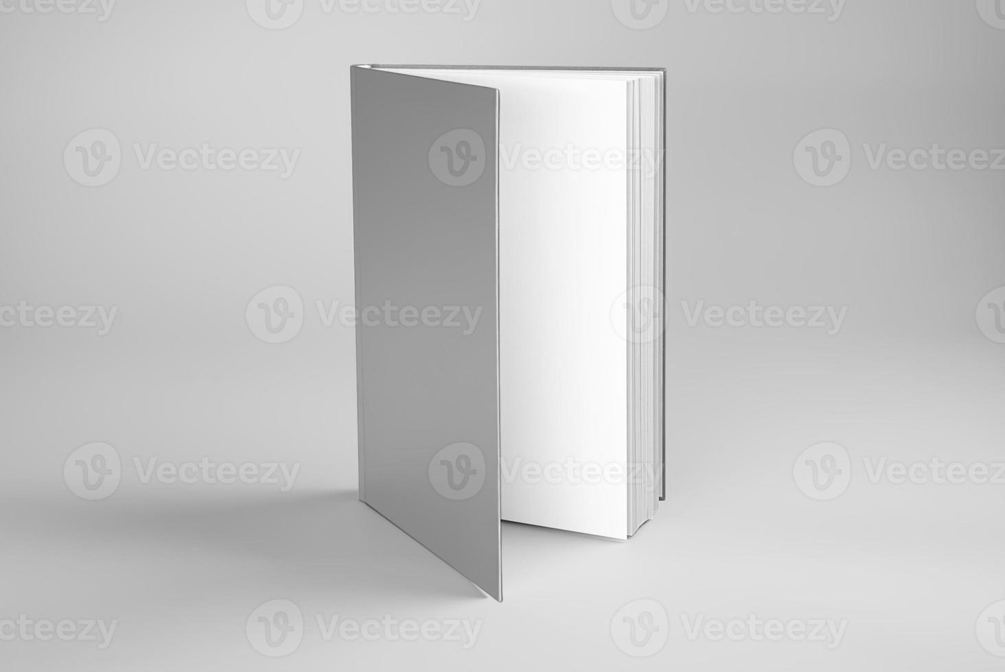 livro em branco aberto em pé foto