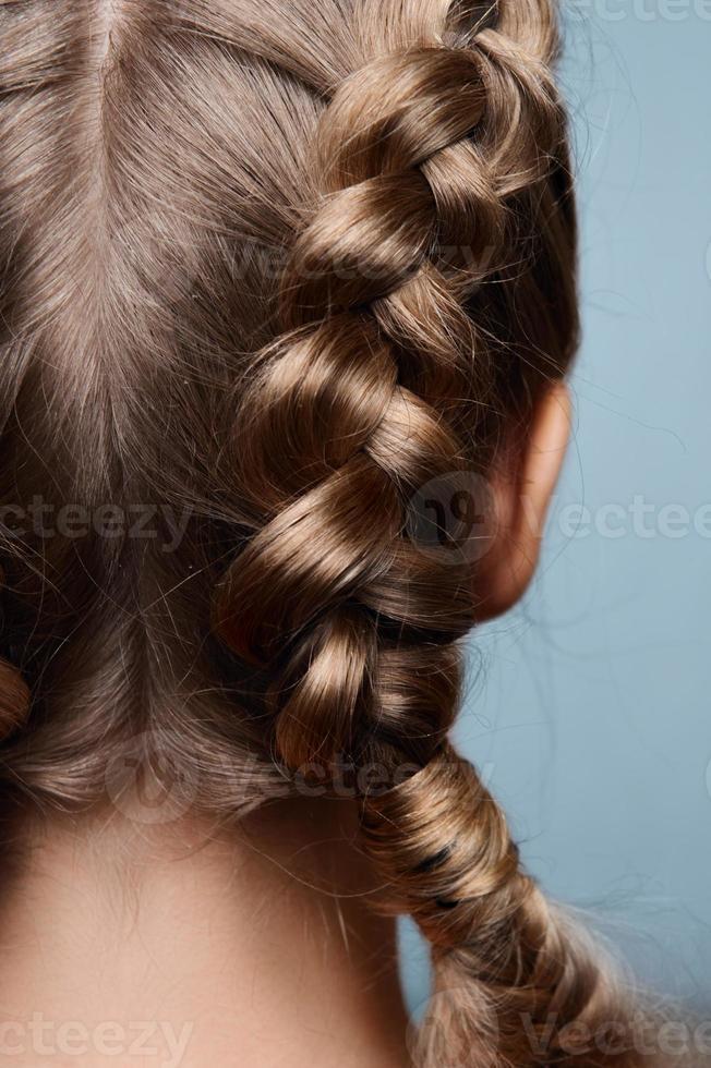 modelo de beleza com tranças de volta foto