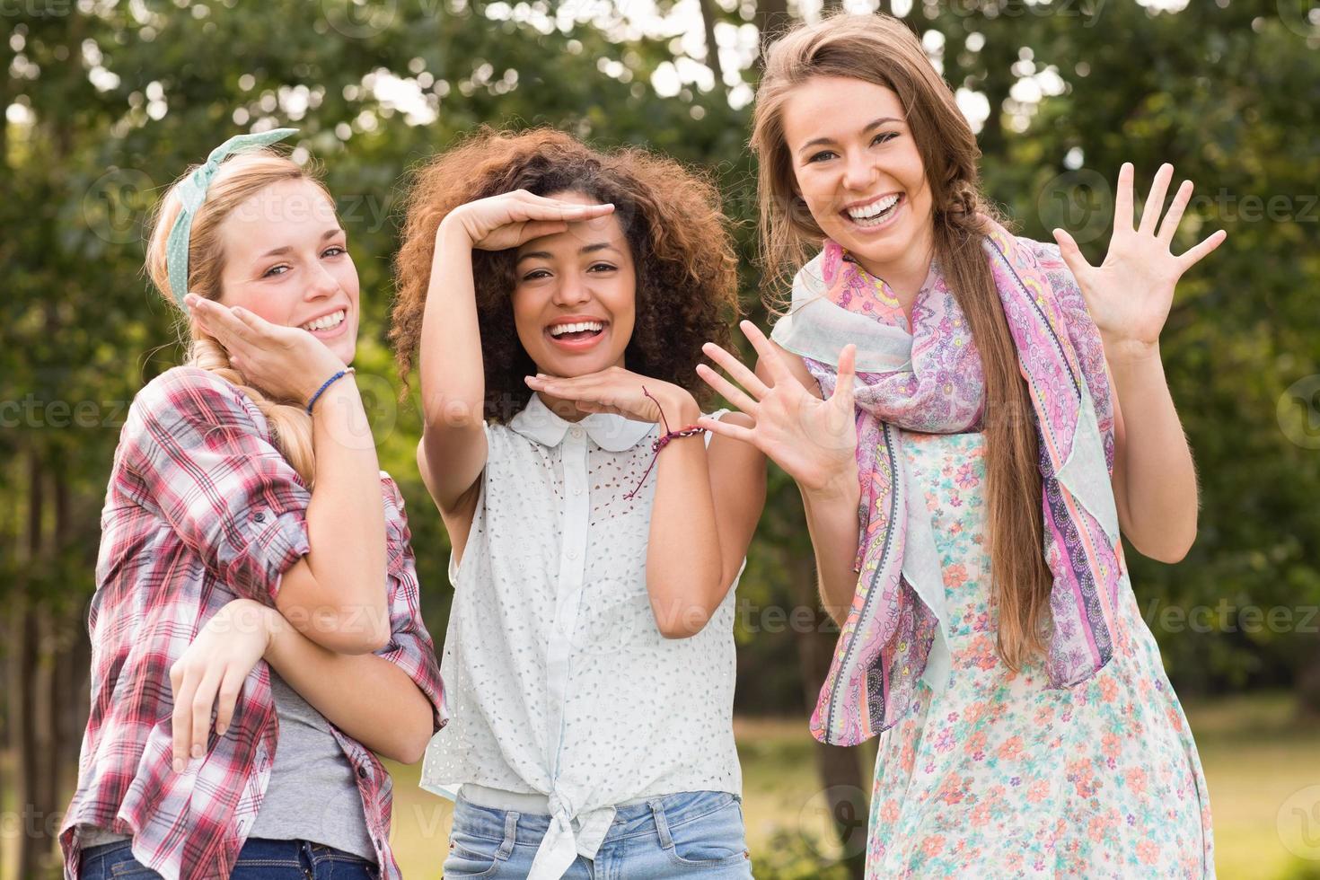 amigos felizes no parque foto