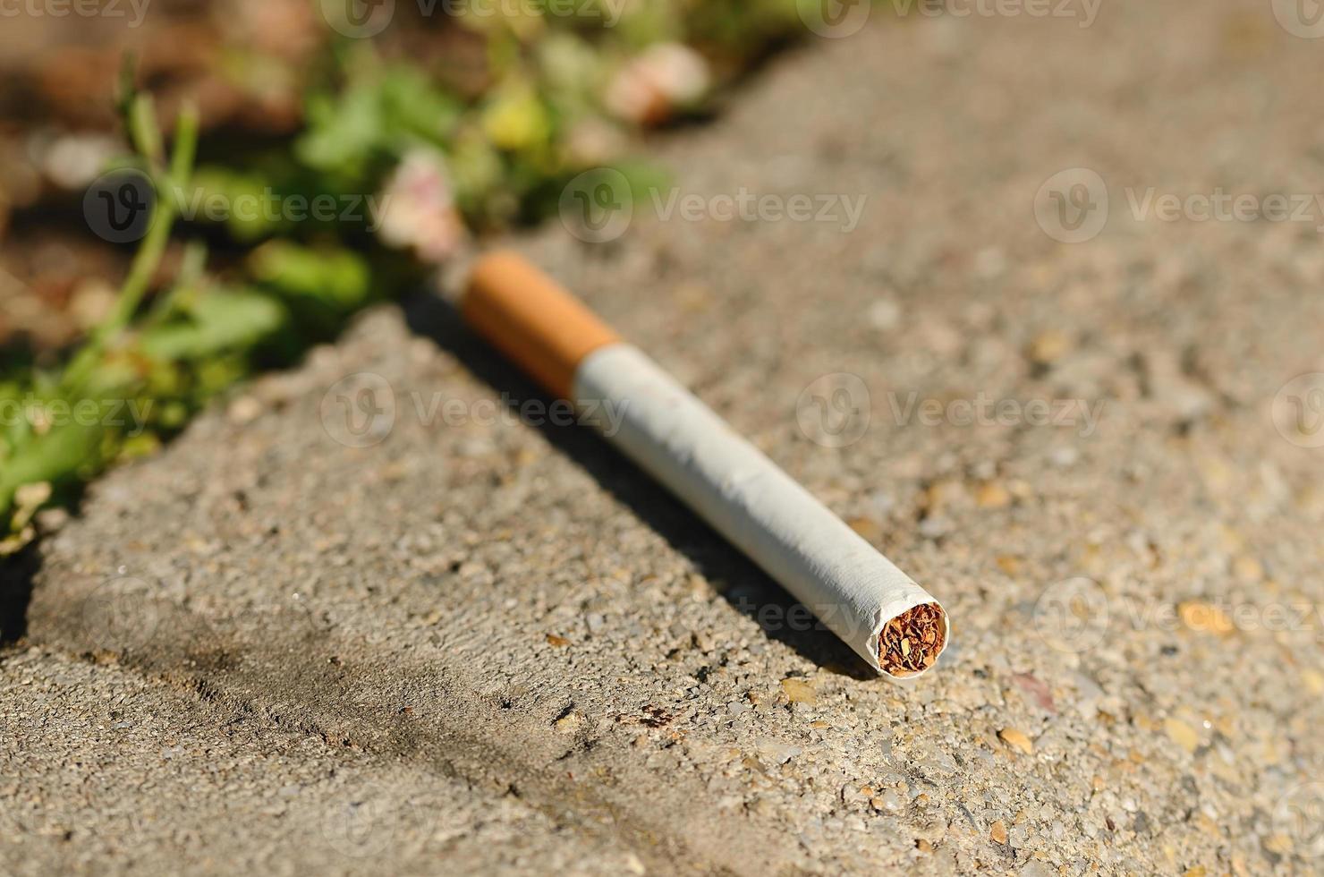 cigarro no asfalto foto