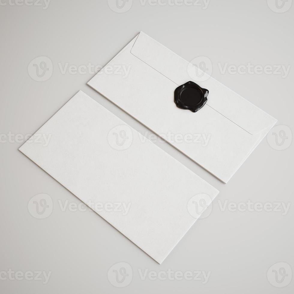 envelopes brancos com selo na luz de fundo foto