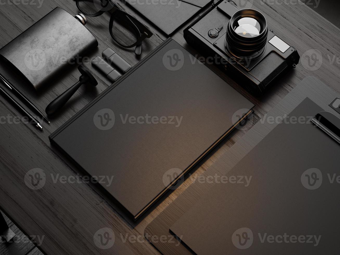 conjunto de elementos de marca sobre o fundo de madeira. 3d rendem foto