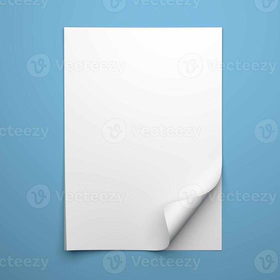 folha vazia de papel branco com canto enrolado foto