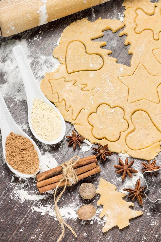 preparando biscoitos de gengibre com ingredientes foto