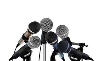 microfones na conferência de imprensa foto