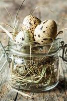 Páscoa - ovos de codorna com feno em uma jarra foto