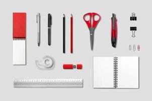 artigos de papelaria, material de escritório modelo de maquete, fundo cinza