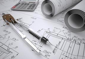 rola desenhos e ferramentas de engenharia foto