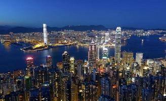 noite da cidade de hong kong foto