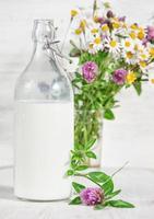leite fresco em garrafa à moda antiga e flores silvestres foto
