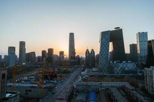 crepúsculo horizonte urbano de Pequim, a capital da china foto