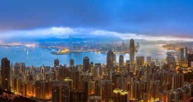 vista panorâmica de hong kong e kowloon foto