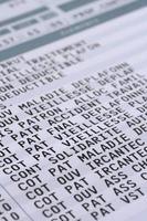 detalhe da folha de pagamento de salário foto