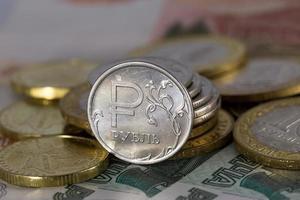 moeda do rublo russo foto