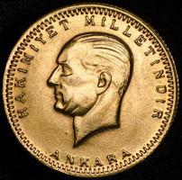 moeda de ouro turco de kurush ataturk (anverso) foto